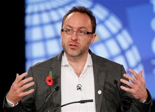 Nov. 1, 2011 file photo: Jimmy Wales, founder of Wikipedia speaks during the opening session at the London Cyberspace Conference in London. Wikipedia will black out the English language version of its website Jan. 18, 2012. (AP Photo/Kirsty Wigglesworth)