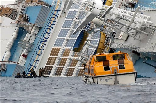 The cruise ship Costa Concordia lays on its side off the tiny Tuscan island of Giglio, Italy, Wednesday, Jan. 18, 2012. (AP Photo/Andrea Sinibaldi, Lapresse)