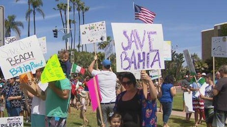 Dozens rally in Mission Beach to protect Bahia Point