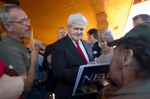 Republican presidential candidate, former House Speaker Newt Gingrich autographs a campaign sign, Wednesday, Jan. 18, 2012, at Bobbyís BBQ in Warrenville, S.C. (AP Photo/Pablo Martinez Monsivais)