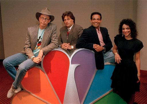 Harry Anderson, left, was among the stars posing for photographers after a press conference in New York announcing NBC-TV's prime time line-up for Fall 1988, shown May 19, 1988.