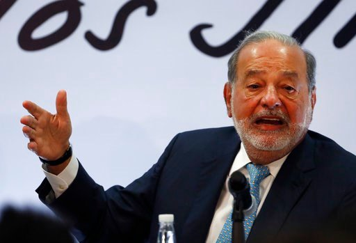 Mexican billionaire Carlos Slim gives a press conference in Mexico City, Monday, April 16, 2018. Slim says he would be concerned if leftist presidential candidate Andres Manuel Lopez Obrador wins on July 1 and cancels the new Mexico City airport project.