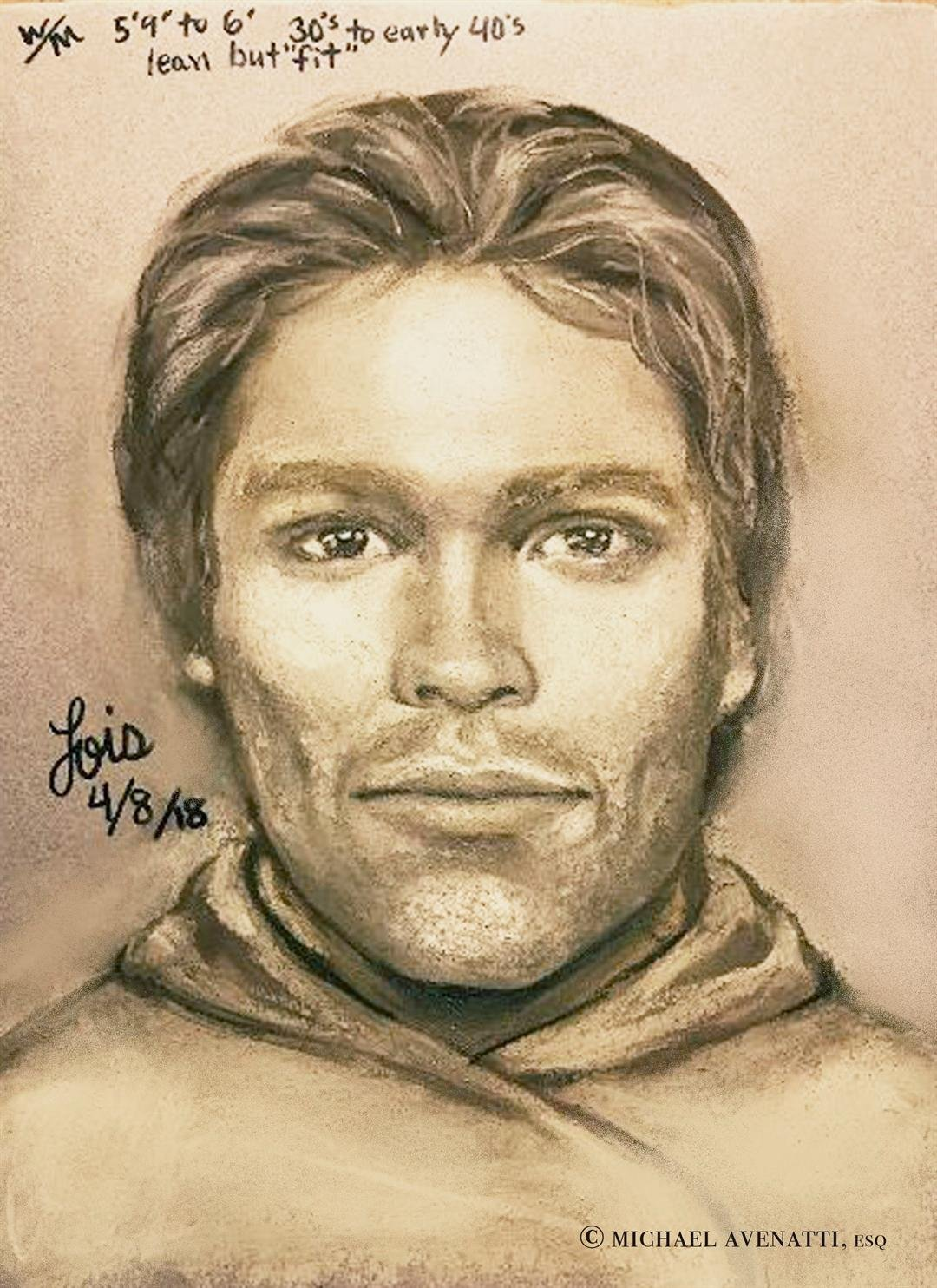 This artist's drawing released by attorney Michael Avenatti, reports to show the man that Stormy Daniels says threatened her in a Las Vegas parking lot in 2011 to remain quiet about her affair with President Donald Trump. (Michael Avenatti via AP)