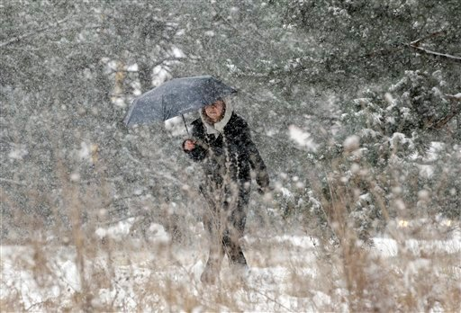 A woman walks to a store as she holds an umbrella as snow falls in Chicago on Friday, Jan. 20, 2012. (AP Photo/Nam Y. Huh)
