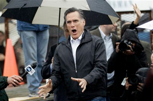 Republican presidential candidate, former Massachusetts Gov. Mitt Romney, reacts as he arrives to campaign at Harmon Tree Farm in Gilbert, S.C., Friday, Jan. 20, 2012. (AP Photo/Charles Dharapak)