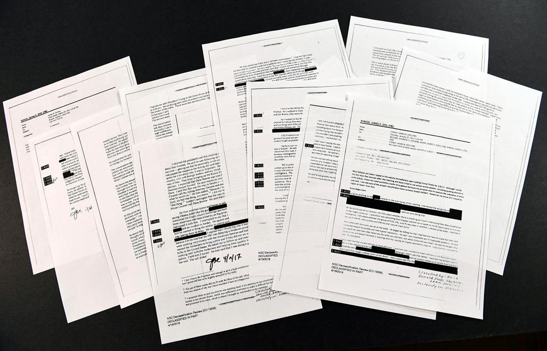 Copies of the memos written by former FBI Director James Comey are photographed in Washington, Thursday, April 19, 2018. (AP Photo/Susan Walsh)