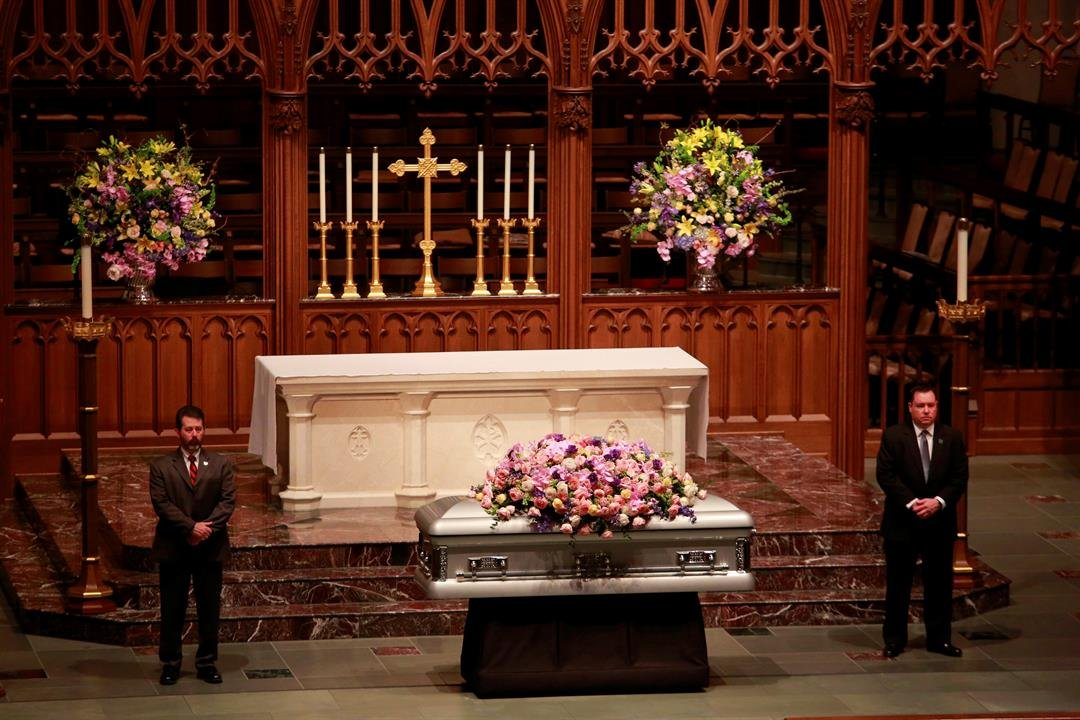 Former U.S. first lady Barbara Bush lies in repose at St. Martin's Episcopal Church Friday, April 20, 2018, in Houston, prior to the public visitation. Bush died Tuesday at her Houston home, she was 92. (Richard Carson/Pool via AP)