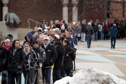 Mourners line up to go through the Pasquerilla Spiritual Center on the Penn State campus for the viewing for former Penn State coach Joe Paterno Jan. 25, 2012 in State College, Pa. (AP Photo/Alex Brandon)