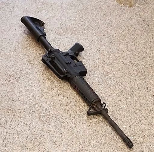 This photo provided by the Metro Nashville Police Department photo shows the rifle used in the deadly shooting at a Waffle House on Sunday, April 22, 2018, in the Antioch neighborhood of Nashville.