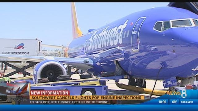 Southwest Airlines cancels flights for engine inspections