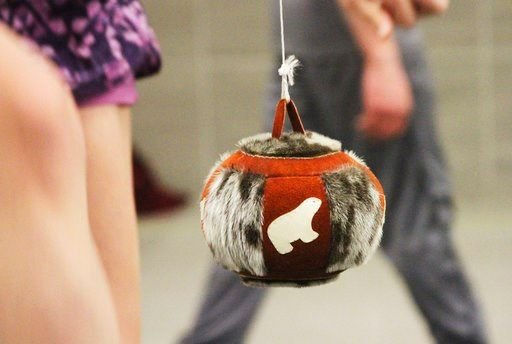 This Jan. 18, 2018, photo shows a type of decorative ball that organizers use in most kicking events in Native Youth Olympics Games in Juneau, Alaska.