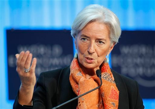 International Monetary Fund, IMF, managing director Christine Lagarde gestures as she speaks during a session at the World Economic Forum in Davos, Switzerland, Saturday, Jan. 28, 2012. (AP Photo/Michel Euler)