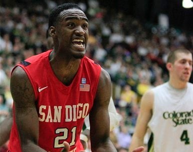 San Diego State guard Jamaal Franklin (21) reacts to a call during the second half of an NCAA basketball game against Colorado State, Saturday, Jan. 28, 2012, in Fort Collins Colo. CSU won 77-60. (AP Photo/Barry Gutierrez)