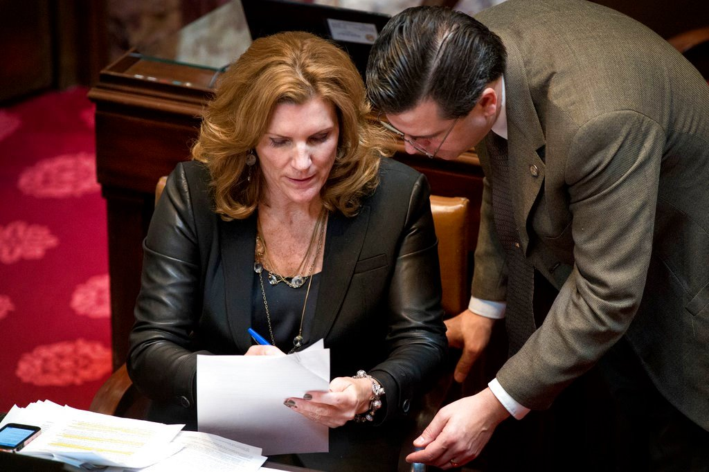 Sen. Julie Rosen confers with fellow GOP Sen. Sean Nienow about an effort to change the first of at least 95 amendments to the health insurance exchange bill at the Statehouse in St. Paul, Minn. (AP Photo/The Star Tribune, Glen Stubbe)