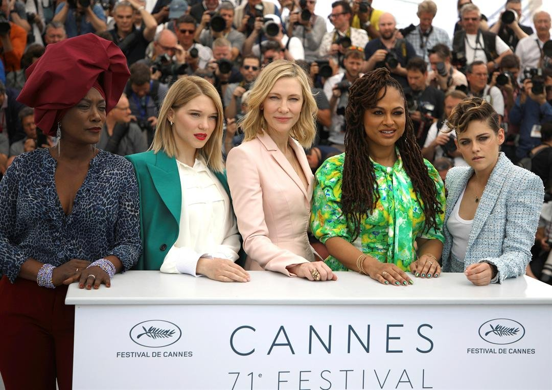 Jury members Khadja Nin, from left, Lea Seydoux, Cate Blanchett, Ava Duvernay and Kristen Stewart during a photo call for the jury at the 71st international film festival, Cannes, southern France, May 8, 2018. (Photo by Vianney Le Caer/Invision/AP)