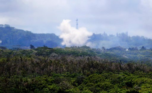 Volcanic gases and ash rise from recent lava fissures near Pahoa, Hawaii on Monday, May 14, 2018. People nixing vacations to Hawaii's Big island has cost the tourism industry millions of dollars as the top attraction, Kilauea volcano, keeps spewing lava.