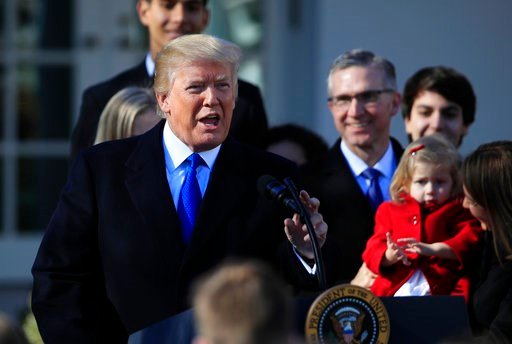 FILE - In this Jan. 19, 2018 file photo, President Donald Trump speaks to participants of the annual March for Life event, in the Rose Garden of the White House in Washington.  (AP Photo/Manuel Balce Ceneta, File)