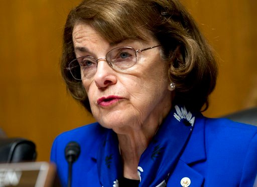 FILE - In this May 16, 2018 file photo Sen. Dianne Feinstein, D-Calif asks questions during a hearing of the Senate Judiciary Committee on Capitol Hill in Washington. (AP Photo/Jose Luis Magana,File)