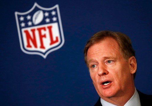 NFL commissioner Roger Goodell tells reporters the NFL team owners have reached agreement on a new league policy that requires players to stand for the national anthem Wednesday, May 23, 2018, in Atlanta. (AP Photo/John Bazemore)