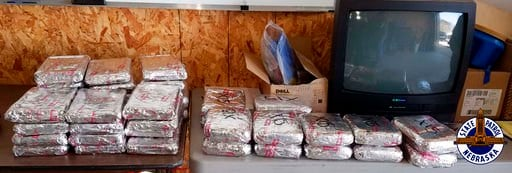 This photo provided by the Nebraska State Patrol on Friday, May 25, 2018 shows some of the nearly 120 pounds of fentanyl seized in April 2018.  (Nebraska State Patrol via AP)