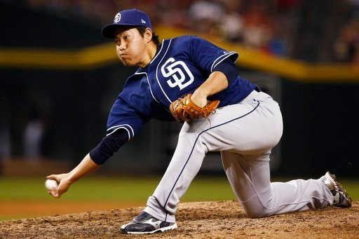 San Diego Padres relief pitcher Kazuhisa Makita, of Japan, throws a pitch against the Arizona Diamondbacks during the sixth inning of a baseball game Sunday, April 22, 2018, in Phoenix. The Diamondbacks defeated the Padres 4-2. (AP Photo/Ross D. Franklin)