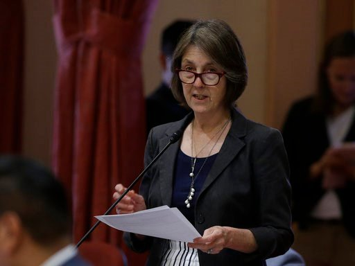 State Sen. Nancy Skinner, D-Berkeley urges lawmakers to approve her measure that would allow the public release of police reports dealing with possible officer misconduct was approved by the Senate, Wednesday, May 30, 2018, in Sacramento, Calif. (AP Photo