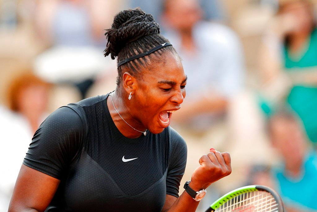 Serena Williams of the U.S. celebrates winning a point as she plays Germany's Julia Georges during their third round match of the French Open tennis tournament at the Roland Garros stadium, Saturday, June 2, 2018 in Paris. (AP Photo/Christophe Ena)