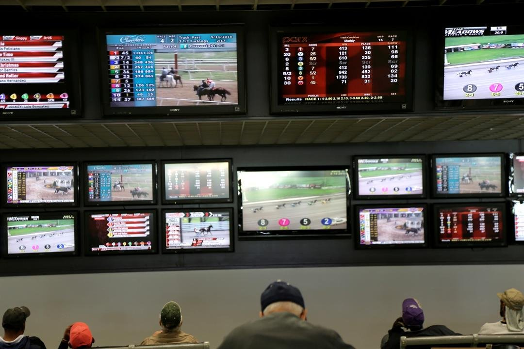 Men watch horse racing at Monmouth Park Racetrack in Oceanport, N.J. New Jersey lawmakers are facing some key decisions Monday, June 4, as they race to legalize sports betting after winning a case in the U.S. Supreme Court. (AP Photo/Seth Wenig, File)