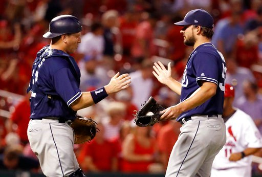 San Diego Padres catcher A.J. Ellis, left, and relief pitcher Brad Hand celebrate following the team's baseball game against the St. Louis Cardinals on Tuesday, June 12, 2018, in St. Louis. The Padres won 4-2. (AP Photo/Jeff Roberson)