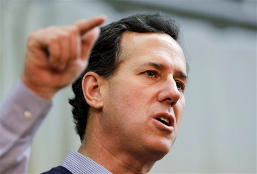 Republican presidential candidate, former Pennsylvania Sen. Rick Santorum speaks at the American Legion, Monday, March 5, 2012, in Westerville, Ohio. (AP Photo/Eric Gay)