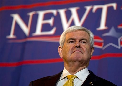 Republican presidential candidate, former House Speaker Newt Gingrich pauses during a campaign stop at Food City on Monday, March 5, 2012, in Chattanooga, Tenn. (AP Photo/Evan Vucci)
