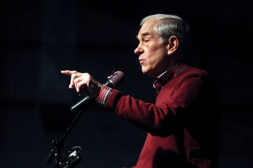 Republican presidential candidate Rep. Ron Paul, R-Texas, speaks to supporters during a town hall meeting at the Bonner County Fairgrounds, Monday, March 5, 2012 in Sandpoint, Idaho. (AP Photo/Matt Mills McKnight)