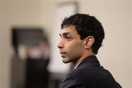 Dharun Ravi sits in the courtroom during his trial at the Middlesex County Courthouse in New Brunswick, N.J., Monday, March 5, 2012. (AP Photo/The Star-Ledger, John O'Boyle, Pool)