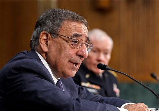 Defense Secretary Leon Panetta, accompanied by Joint Chiefs Chairman Gen. Martin Dempsey, testifies on Capitol Hill in Washington, Wednesday March 7, 2012, before the Senate Armed Services Committee. (AP Photo/J. Scott Applewhite)