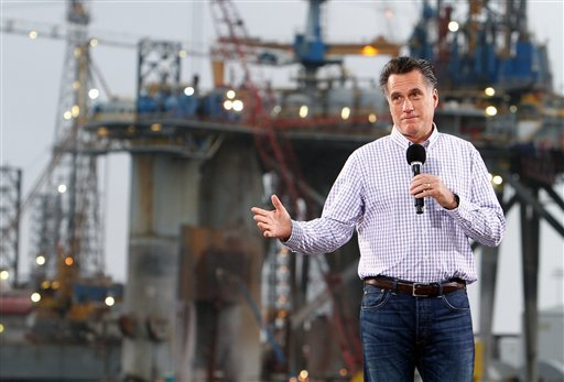 Republican presidential candidate Mitt Romney waves to the crowd at the Port of Pascagoula while campaigning in Mississippi on Thursday, March 8, 2012. (AP Photo/The Sun Herald, Amanda McCoy)