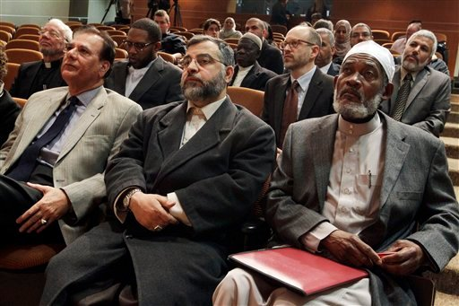 A large gathering sits at Saint Peter's College in Jersey City, N.J., Thursday, March 8, 2012, during an interfaith news conference to address concerns about the spying conducted by the New York City Police Department on the Muslim community.