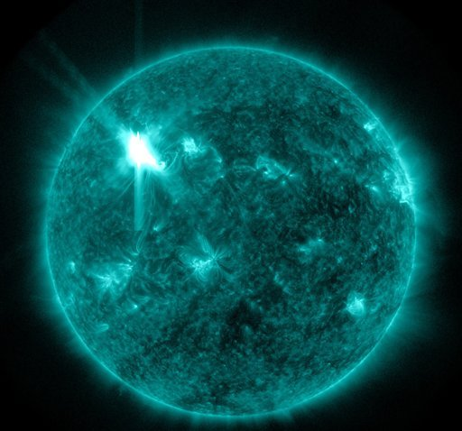 This extreme ultraviolet wavelength image provided by NASA shows a solar flare.
