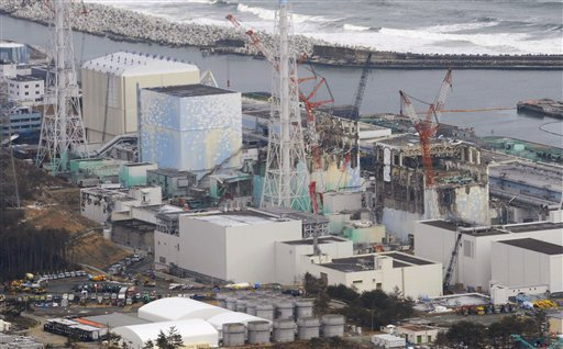 Tsunami-crippled four reactors, from left, Unit 1 to Unit 4, are seen at Fukushima Dadi-ichi nuclear power plant in Okuma, Fukushima Prefecture, Japan Sunday, March 11, 2012. (AP)