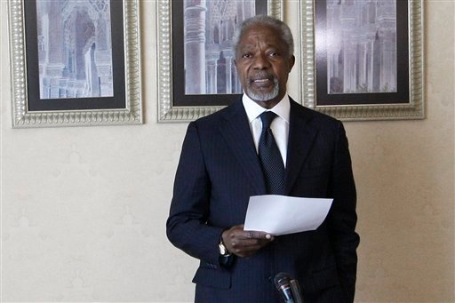 United Nations envoy Kofi Annan speaks during a press conference in Damascus, Syria, Sunday, March 11, 2012. (AP)