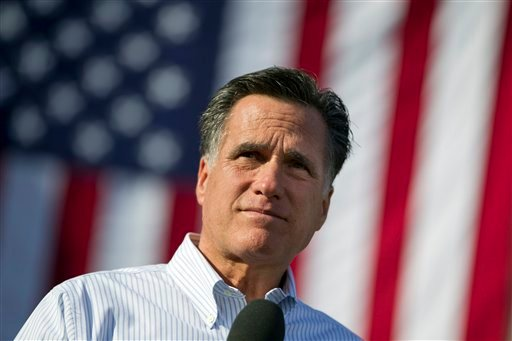 Republican presidential candidate, former Massachusetts Gov. Mitt Romney speaks during a campaign stop at William Jewell College on Tuesday, March 13, 2012 in Liberty, Mo. (AP Photo/Evan Vucci)