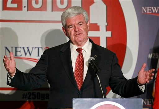 Republican presidential candidate former House Speaker Newt Gingrich speaks at a rally in Rosemont, Ill., Wednesday, March 14, 2012. (AP Photo/Kamil Krzaczynski)