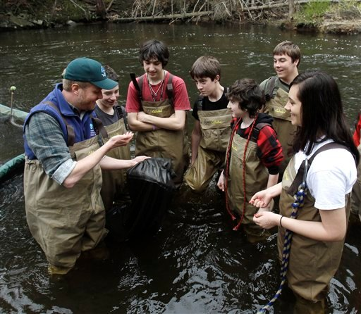 In this April 18, 2011 file photo, Chris Bowser of the New York State Department of Environmental Conservation, left, checks a net for American eels with Kingston High School students on the Black Creek in West Park, N.Y. (AP Photo/Mike Groll)