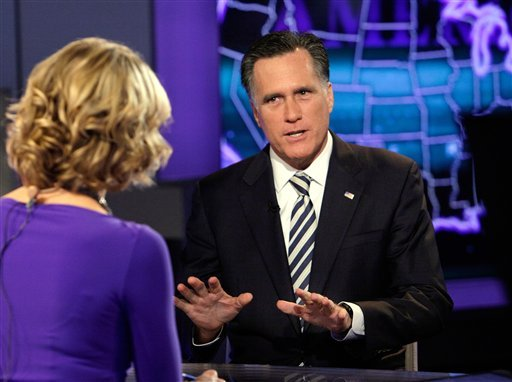 """Republican presidential candidate, former Massachusetts Gov. Mitt Romney is interviewed by Megyn Kelly during a segment of """"America Live"""" on the Fox News Channel, in New York, Wednesday, March 14, 2012. (AP Photo/Richard Drew)"""