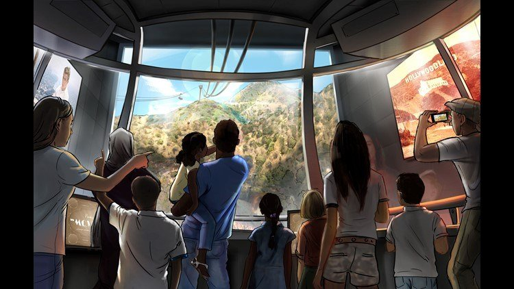 Artist rendering of the proposed tram from the Warner Bros. studio lot to a new Hollywood Sign viewing area