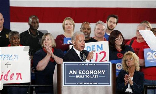 Vice President Joe Biden speaks at a union hall in Toledo, Ohio, Thursday March 15, 2012. (AP Photo/Madalyn Ruggiero)
