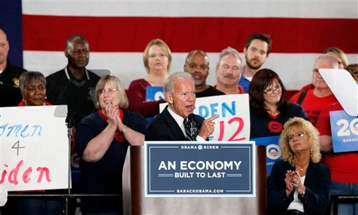 Vice President Joe Biden speaks at a union hall in Toledo, Ohio, Thursday March 15, 2012. (AP Photo/Madalyn Ruggiero)