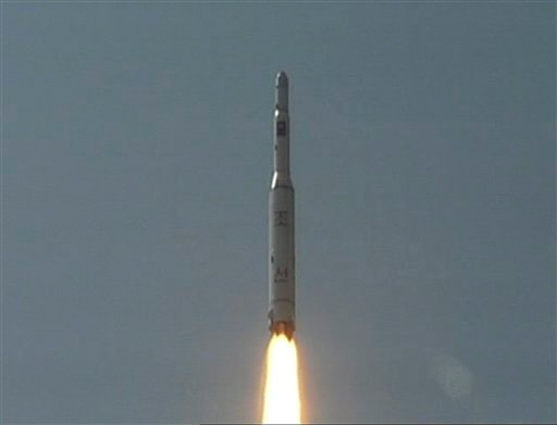 In this April 5, 2009 image made from KRT video, a rocket is lifted off from its launch pad in Musudan-ri, North Korea. (AP)
