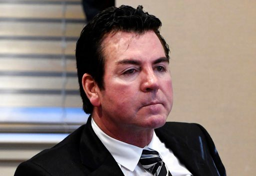 FILE - In this Wednesday, Oct. 18, 2017, file photo, Papa John's founder and CEO John Schnatter attends a meeting in Louisville, Ky. Schnatter is apologizing after reportedly using a racial slur during a conference call in May 2018.  (AP Photo/Timothy D.