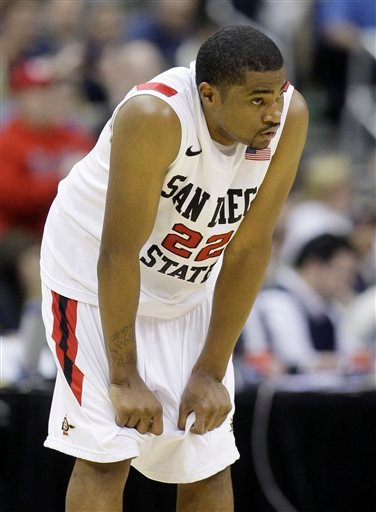 San Diego State's Chase Tapley reacts in the final seconds of the second half of an NCAA men's college basketball tournament second-round game against North Carolina State in Columbus, Ohio, Friday, March 16, 2012.