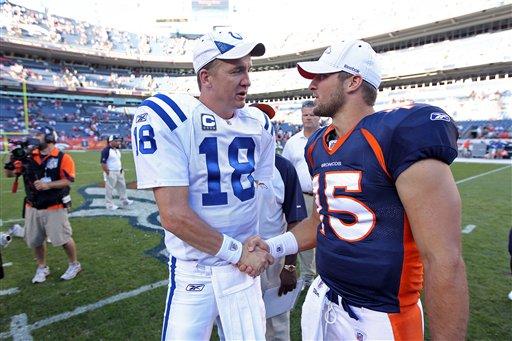 FILE - In this Sept. 26, 2010 file photo, Indianapolis Colts quarterback Peyton Manning (18) greets Denver Broncos quarterback Tim Tebow (15) at an NFL game, in Denver. (AP Photo/Greg Trott)